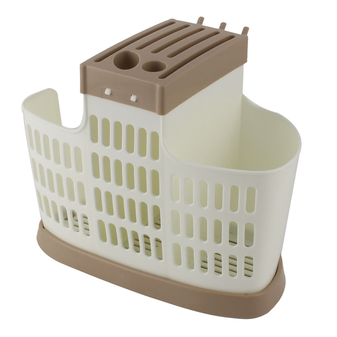 Home Kitchen Plastic Chopsticks Spoon Cutters Hollow Out Basket Case Cage Holder White