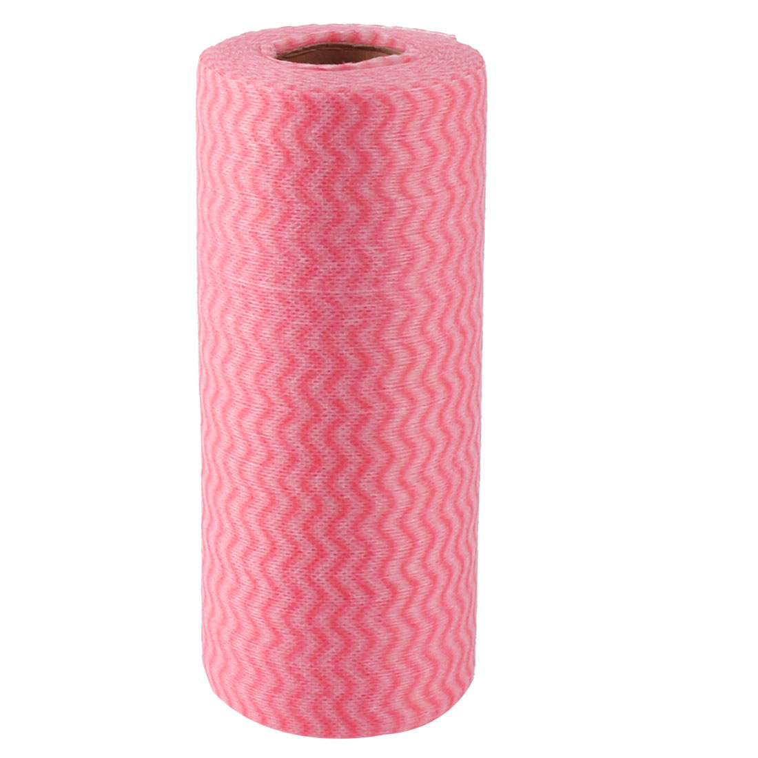 Kitchenware Non-woven Disposable Bowl Pot Dish Scrub Wiping Cleaning Cloth Roll Pink
