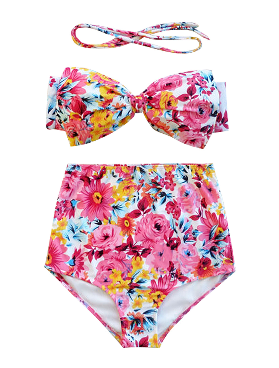 Women Vintage Push-up Padded Bikini Floral High Waist Top Bow Sexy Bathing Suits M Pink