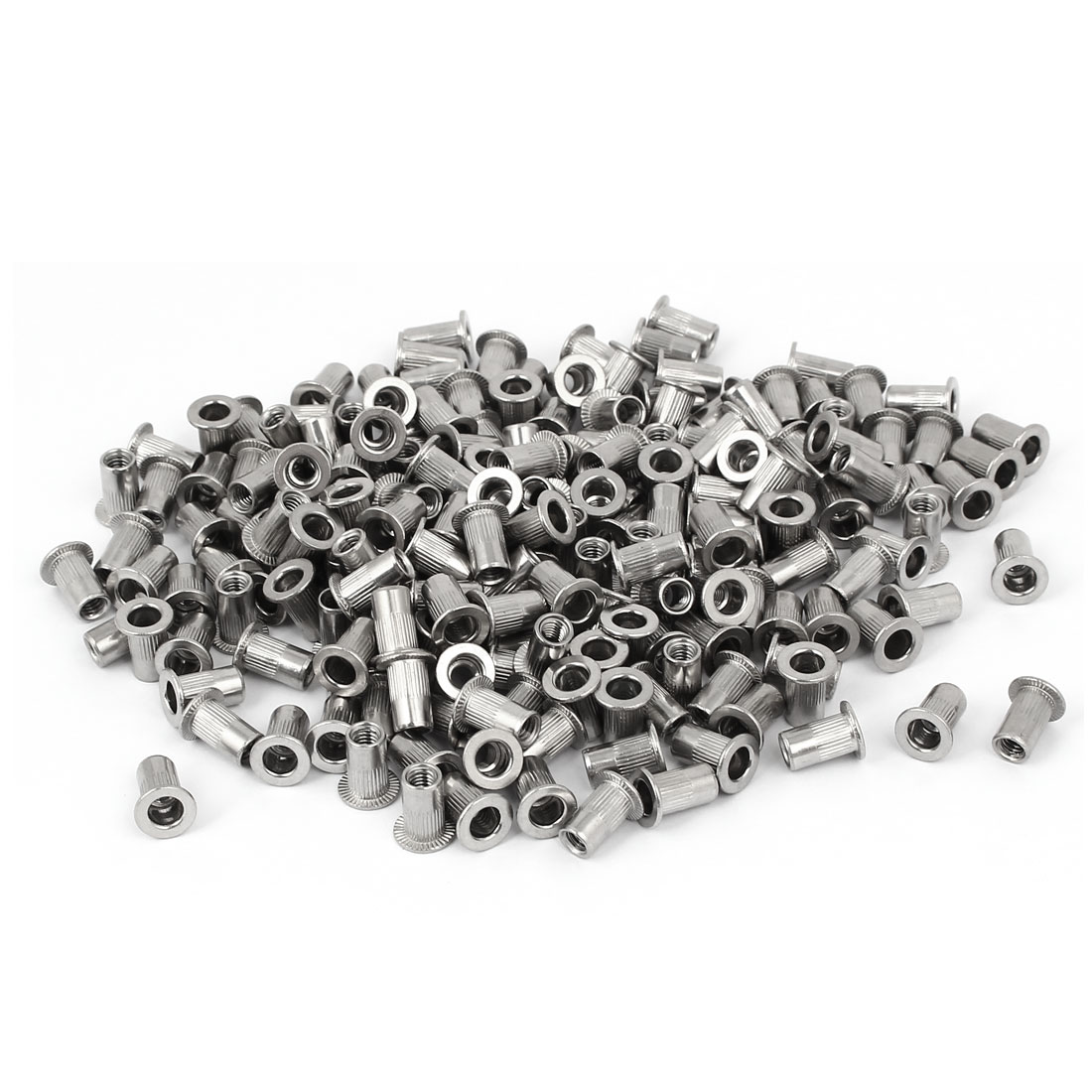 M4 x 11mm 304 Stainless Steel Knurled Flat Head Rivet Nut Insert Nutsert 200PCS