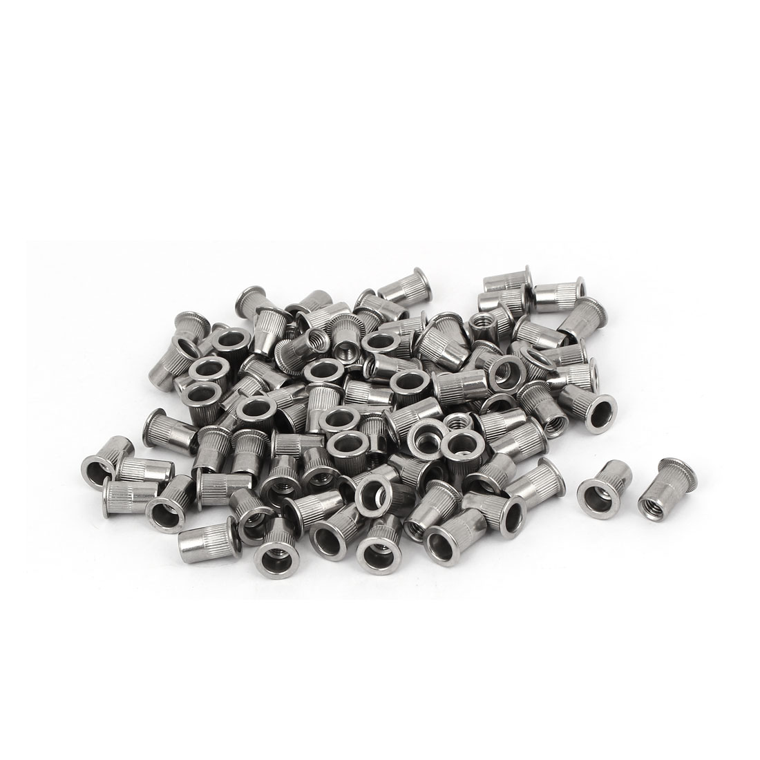 M6 x 15mm 304 Stainless Steel Knurled Flat Head Rivet Nut Insert Nutsert 100PCS
