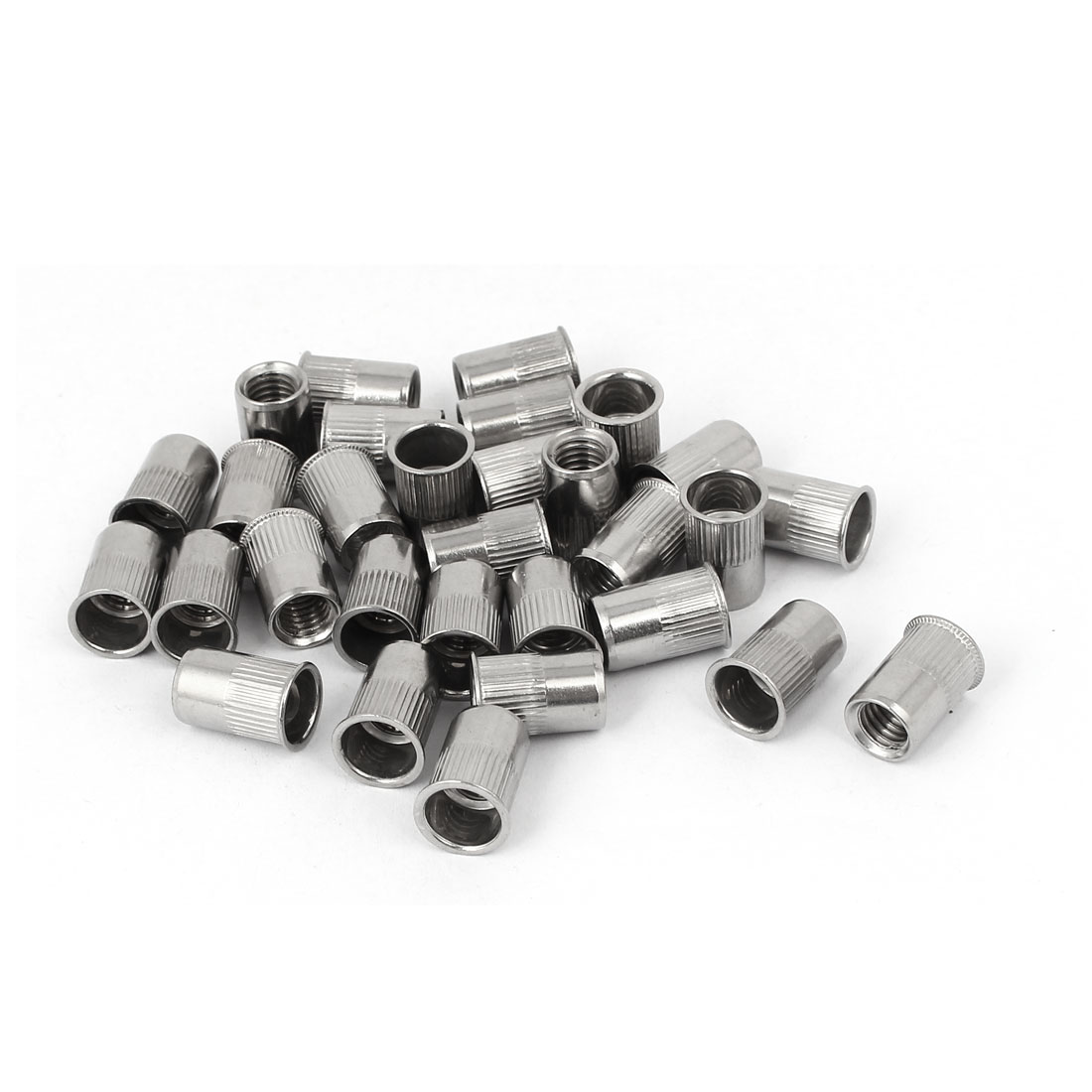 M8 x 17mm Knurled Stripe Countersunk Head Rivet Nut Insert Nutsert 50PCS