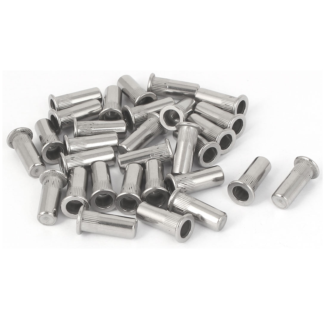 M5x18.5mm 304 Stainless Steel Straight Knurled Closed End Rivet Nut Fastener 30pcs