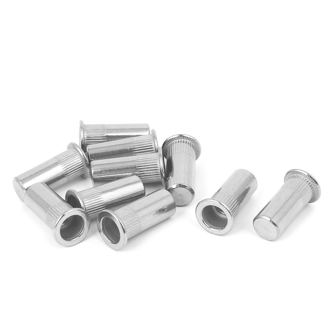 M8x27mm 304 Stainless Steel Straight Knurled Closed End Rivet Nut Fastener 10pcs