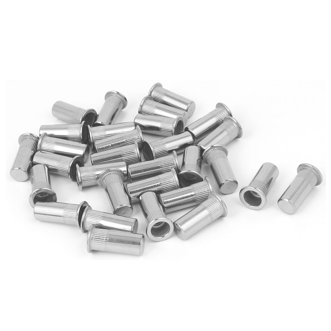 M8x27mm 304 Stainless Steel Straight Knurled Closed End Rivet Nut Fastener 30pcs