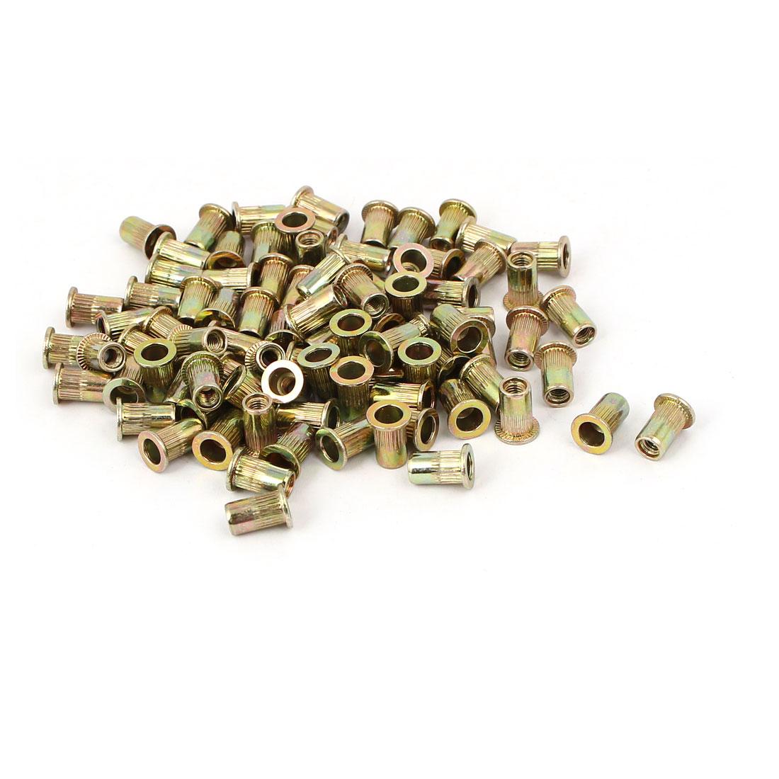 M3 x 9mm Yellow Zinc Plated Flat Head Rivet Nut Insert Nutsert 100PCS
