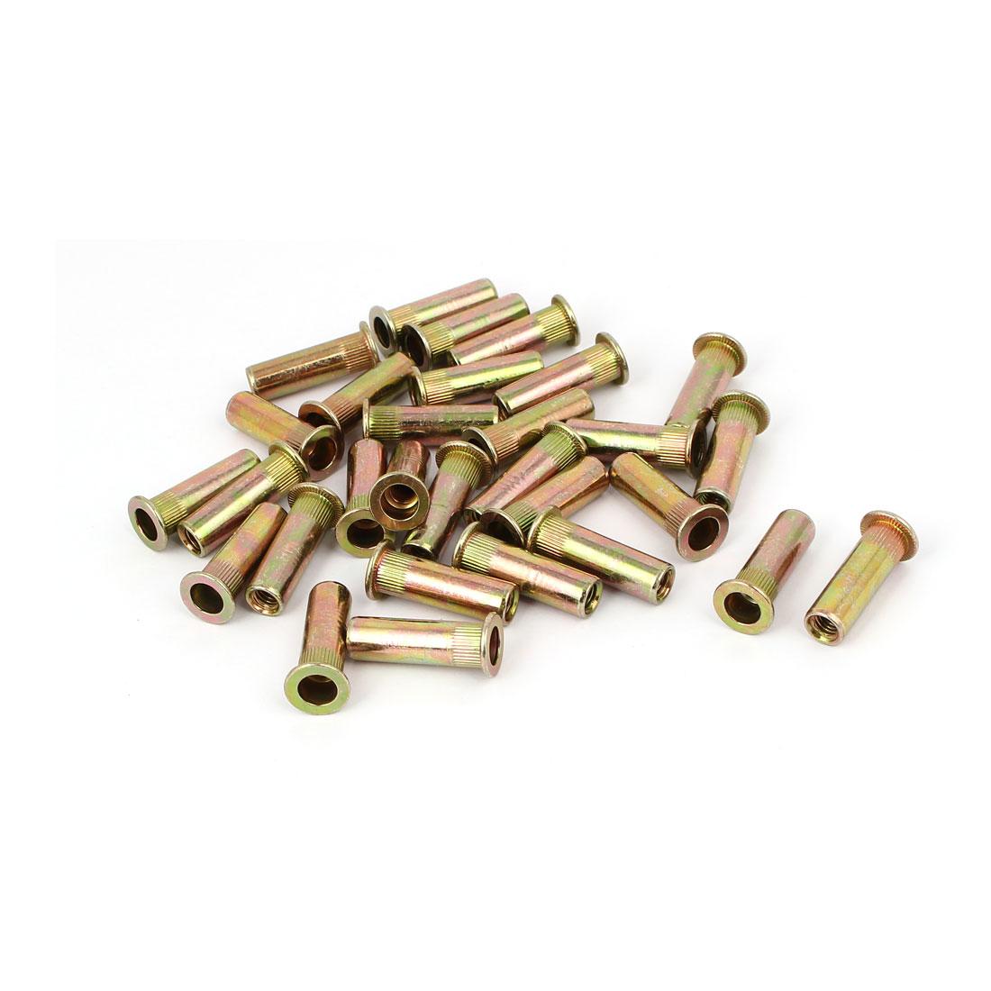 M6 x 30mm Knurled Blind Rivet Nut Open End Embedded Insert Nutsert 30PCS