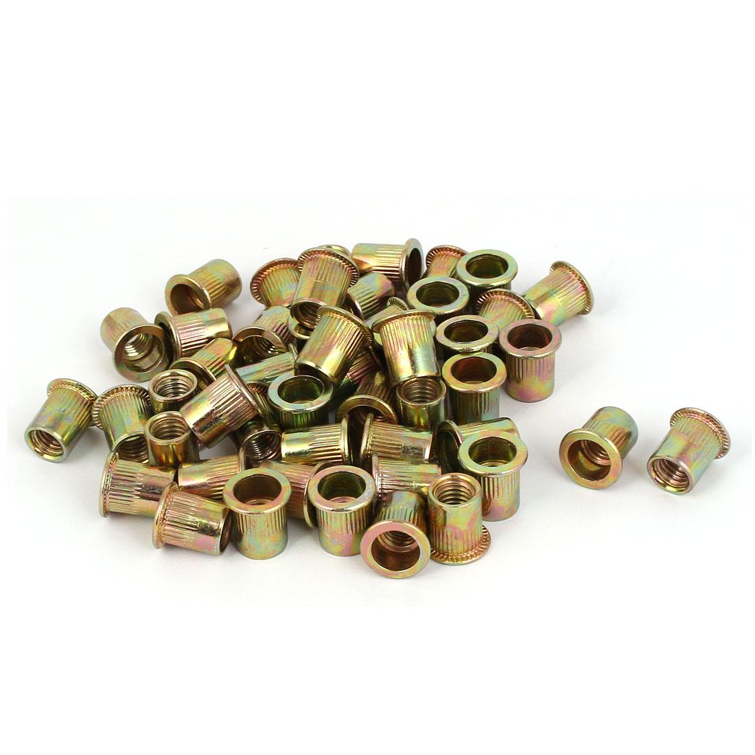Carbon Steel Zinc Plated Straight Knurled Reduced Head Rivet Nut Insert Nutsert Bronze Tone M8x14mm 50pcs