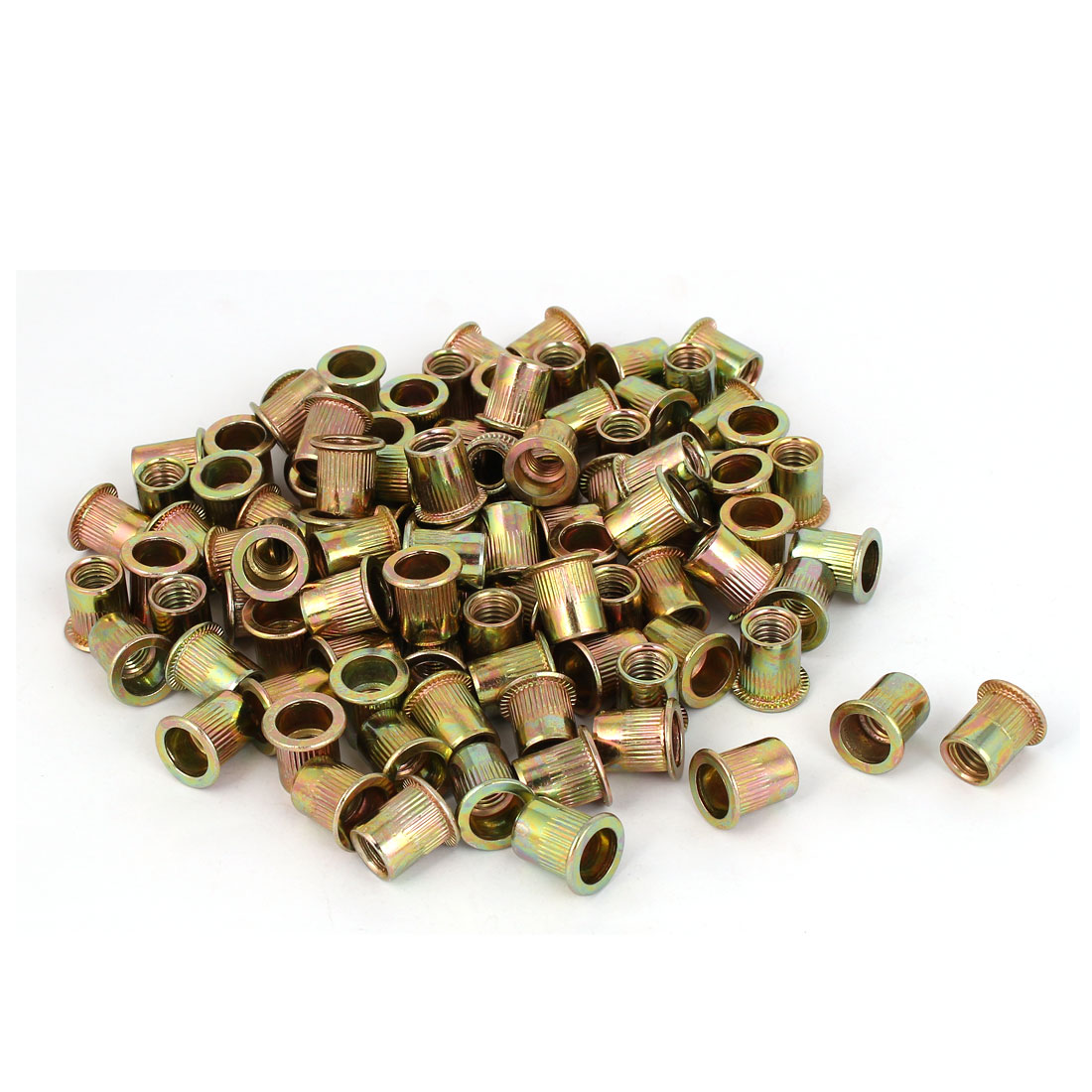 Carbon Steel Zinc Plated Straight Knurled Reduced Head Rivet Nut Insert Nutsert Bronze Tone M8x14mm 100pcs