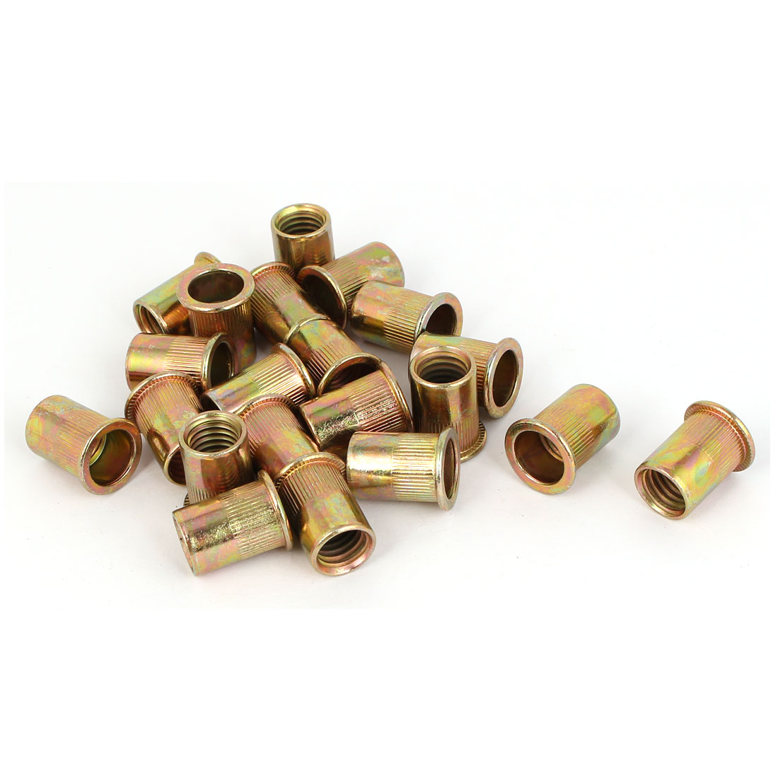 Straight Knurled Reduced Head Rivet Nut Insert Nutsert Bronze Tone M12x24mm 20pcs