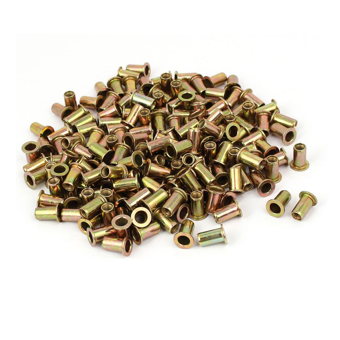 M5 x 13mm Zinc Plated Flat Head Rivet Nut Embedment Insert Nutsert 200PCS