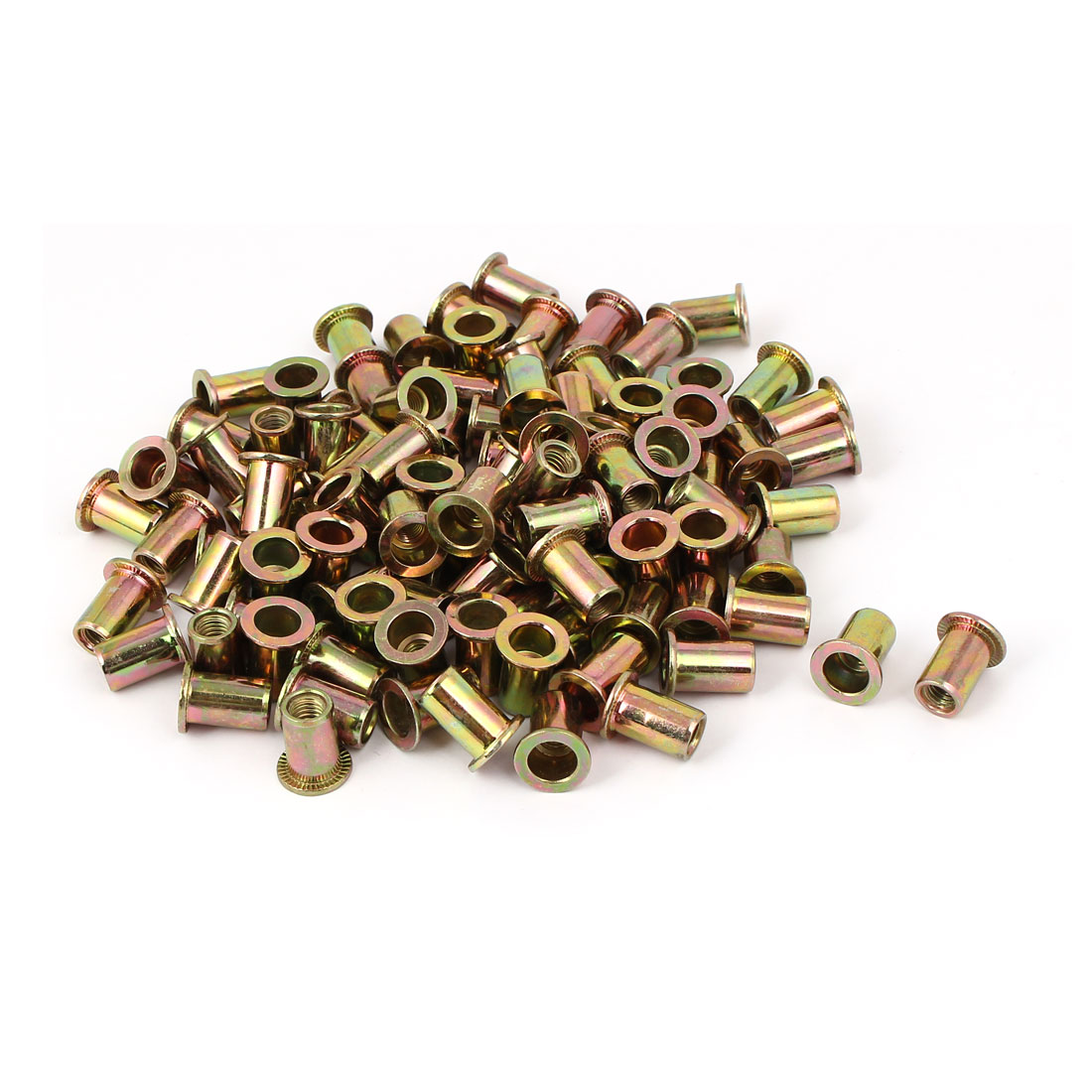 M6 x 15mm Flat Head Open Ended Rivet Nut Embedded Insert Nutsert 100PCS