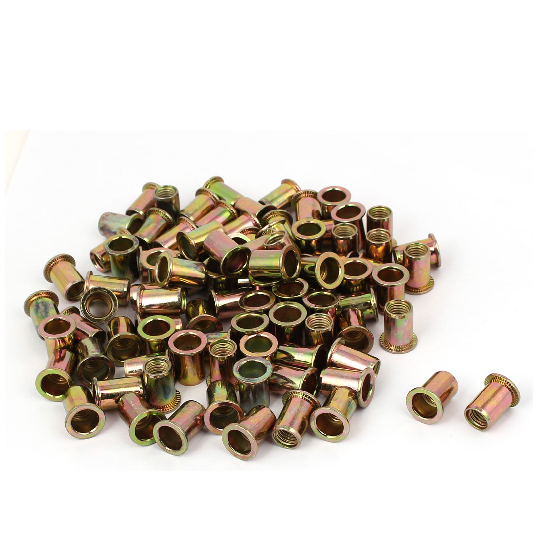 M10 x 20mm Zinc Plated Flat Head Rivet Nut Insert Nutsert 100PCS