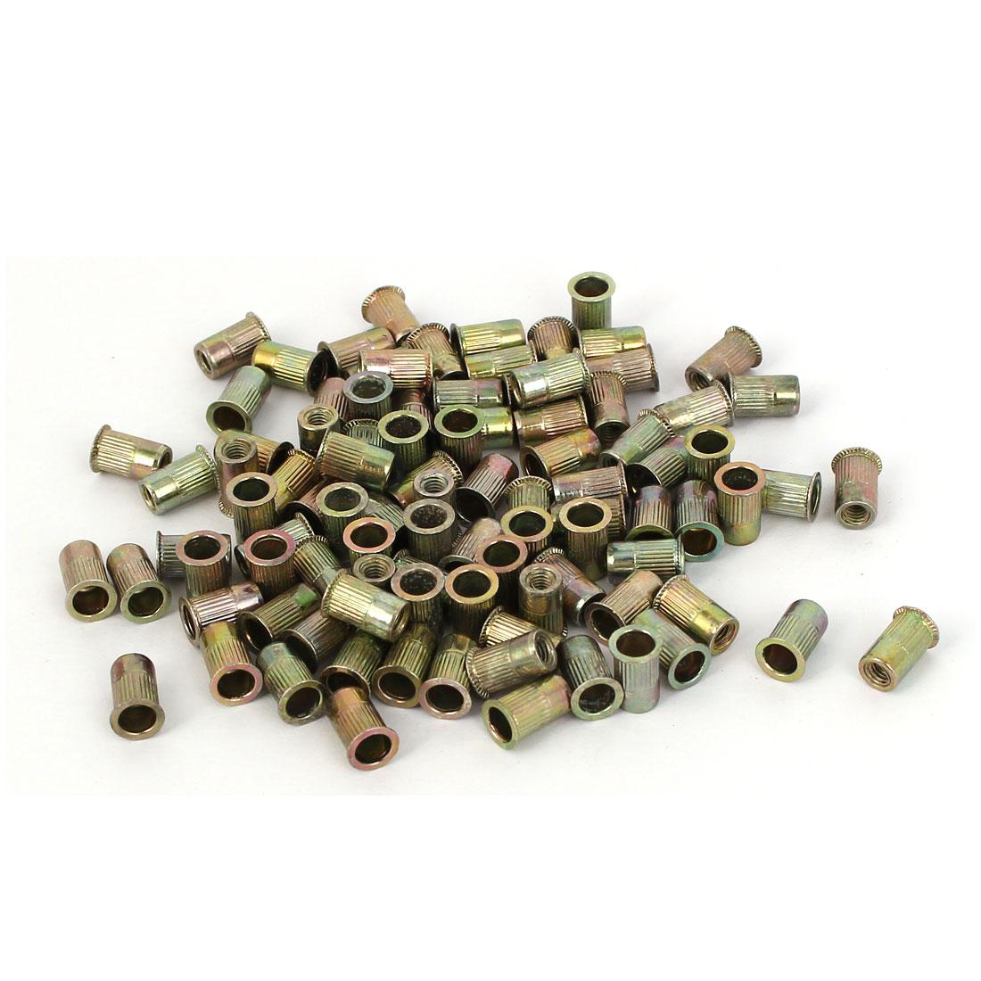 M3 Carbon Steel Knurled Insert Rivet Nut Nutserts Fastener Bronze Tone 100pcs
