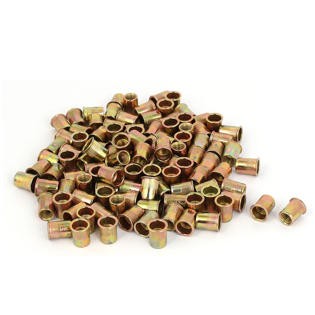 Carbon Steel Zinc Plated Straight Knurled Reduced Head Rivet Nut Nutsert Bronze Tone M6x12mm 100pcs