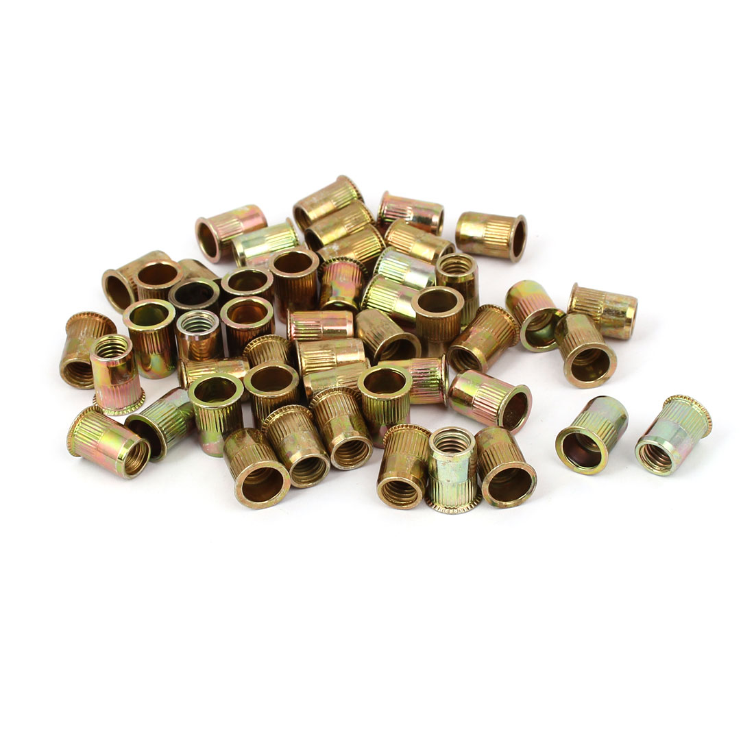 M8 x 16mm Flat Head Open Ended Rivet Nut Round Insert Nutsert 50PCS