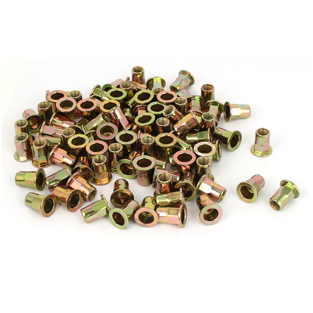 M8 x 19mm Flat Head Half Hex Body Insert Rivet Nut Nutserts Fastener 100pcs