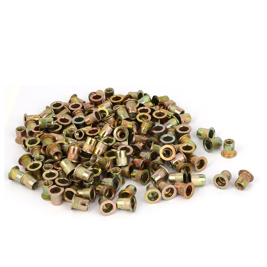 Straight Knurled Reduced Head Rivet Nut Insert Nutsert Bronze Tone 9x12mm 200pcs
