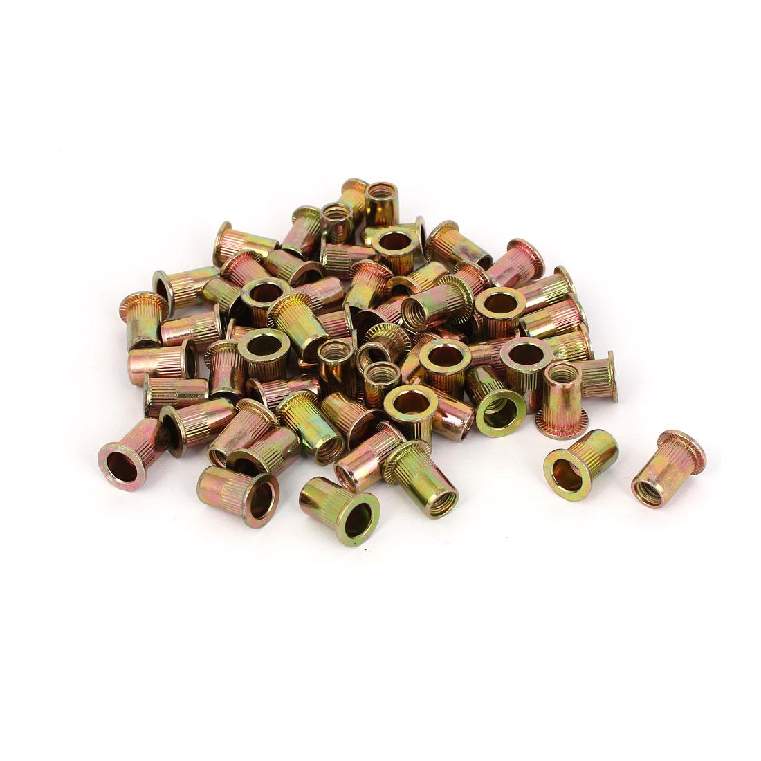 Straight Knurled Flat Head Rivet Nut Insert Nutsert Bronze Tone 11x18mm 50pcs