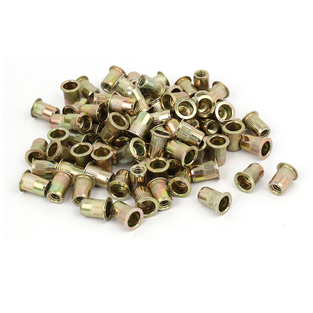 "1/4""x9.8mmx15mm Straight Knurled Umbrella Head Rivet Nut Insert Nutserts 100 Pcs"