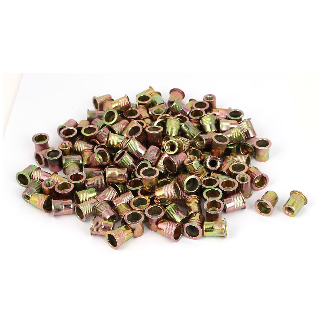 Straight Knurled Reduced Head Rivet Nut Insert Nutsert Bronze Tone M8x13.5mm 200pcs