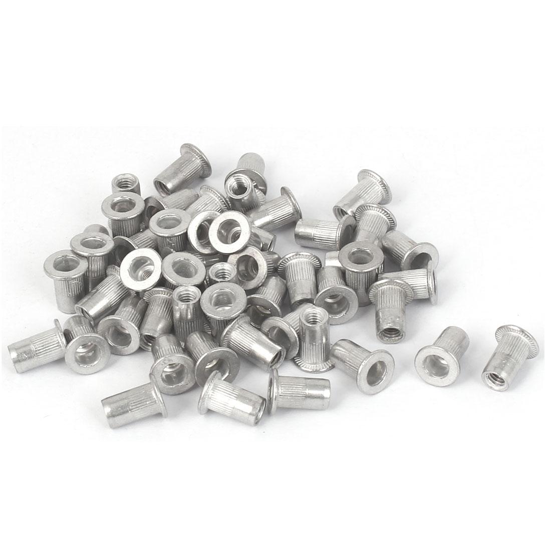 M4x10.8mm Aluminum Straight Knurled Rivet Nut Fastener 50pcs