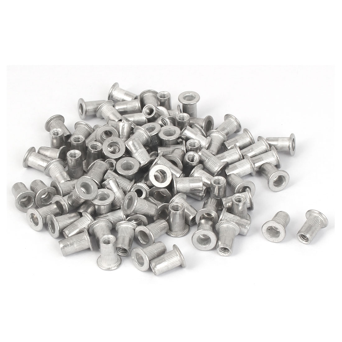 M4x10.8mm Aluminum Straight Knurled Rivet Nut Fastener 100pcs