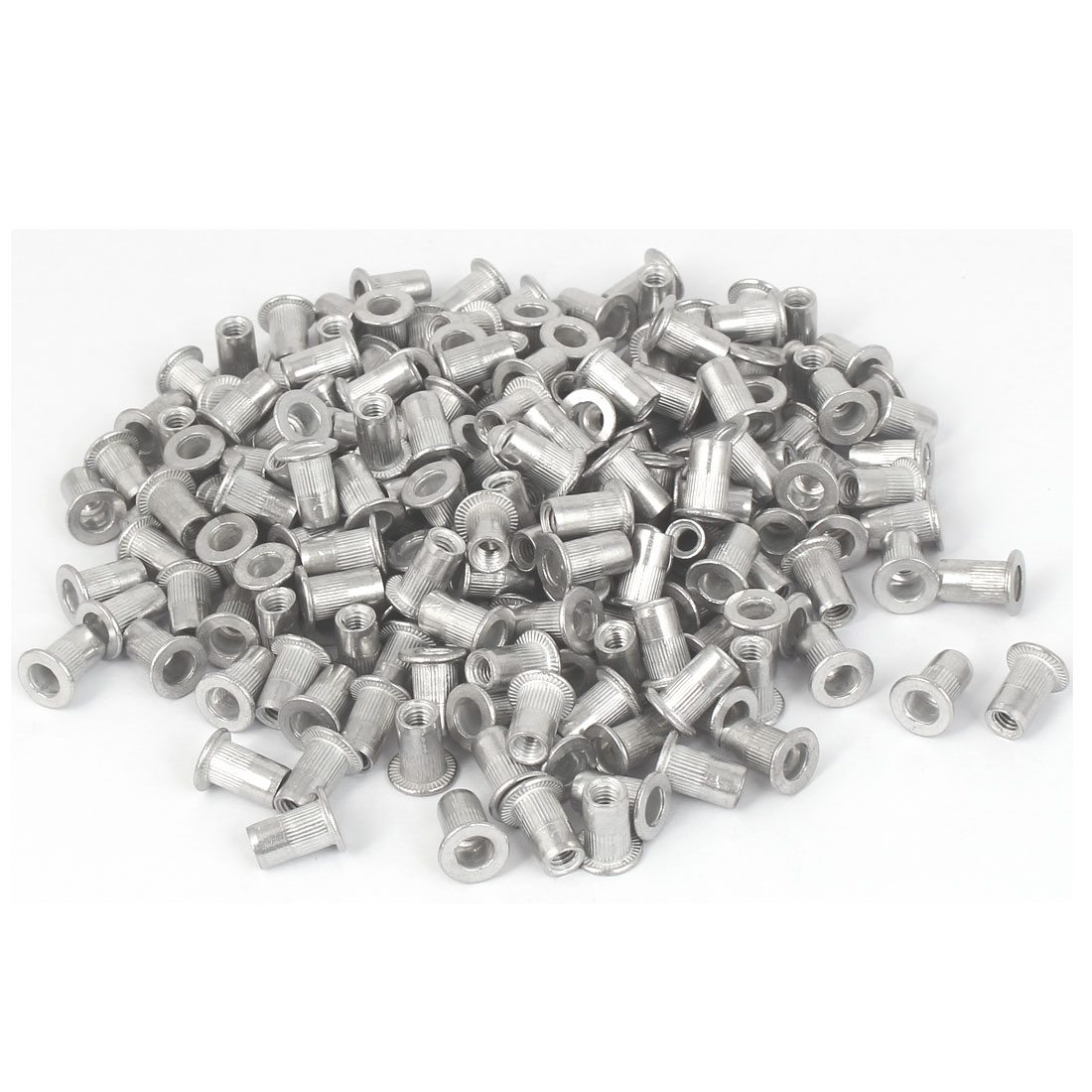 M4x10.8mm Aluminum Straight Knurled Rivet Nut Fastener 200pcs