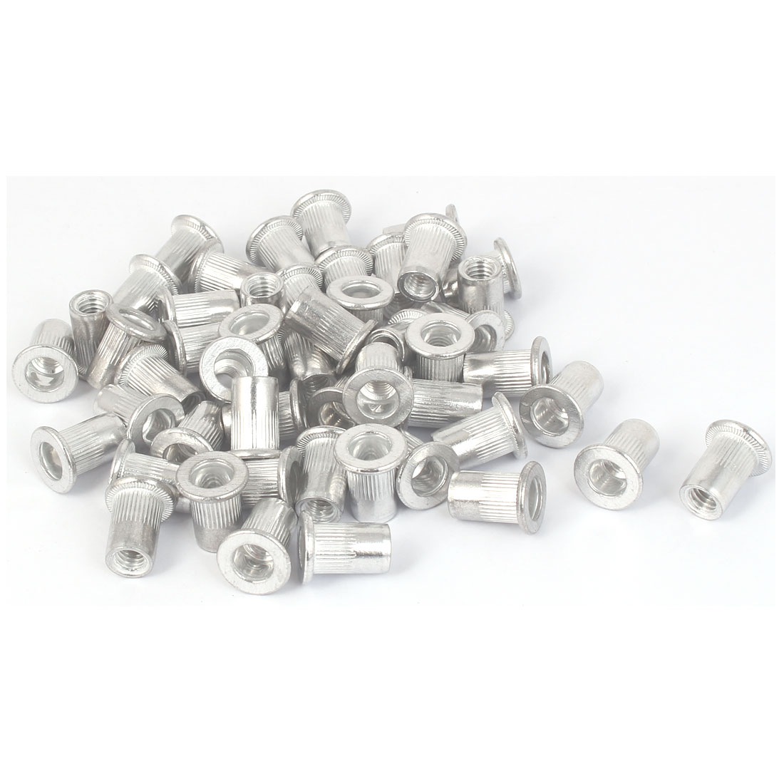 M6x15mm Aluminum Straight Knurled Rivet Nut Fastener 50pcs