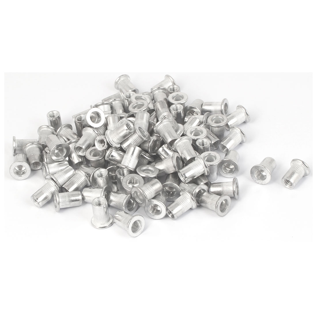 M6x15mm Aluminum Straight Knurled Blind Rivet Nut Fastener 100pcs