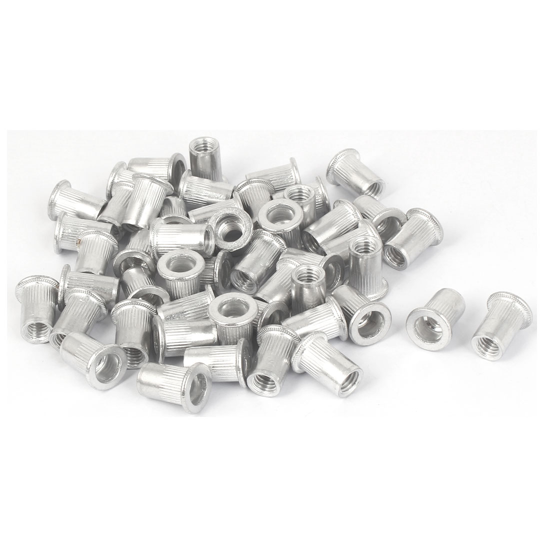 M8x18mm Aluminum Straight Knurled Blind Rivet Nut Fastener 50pcs