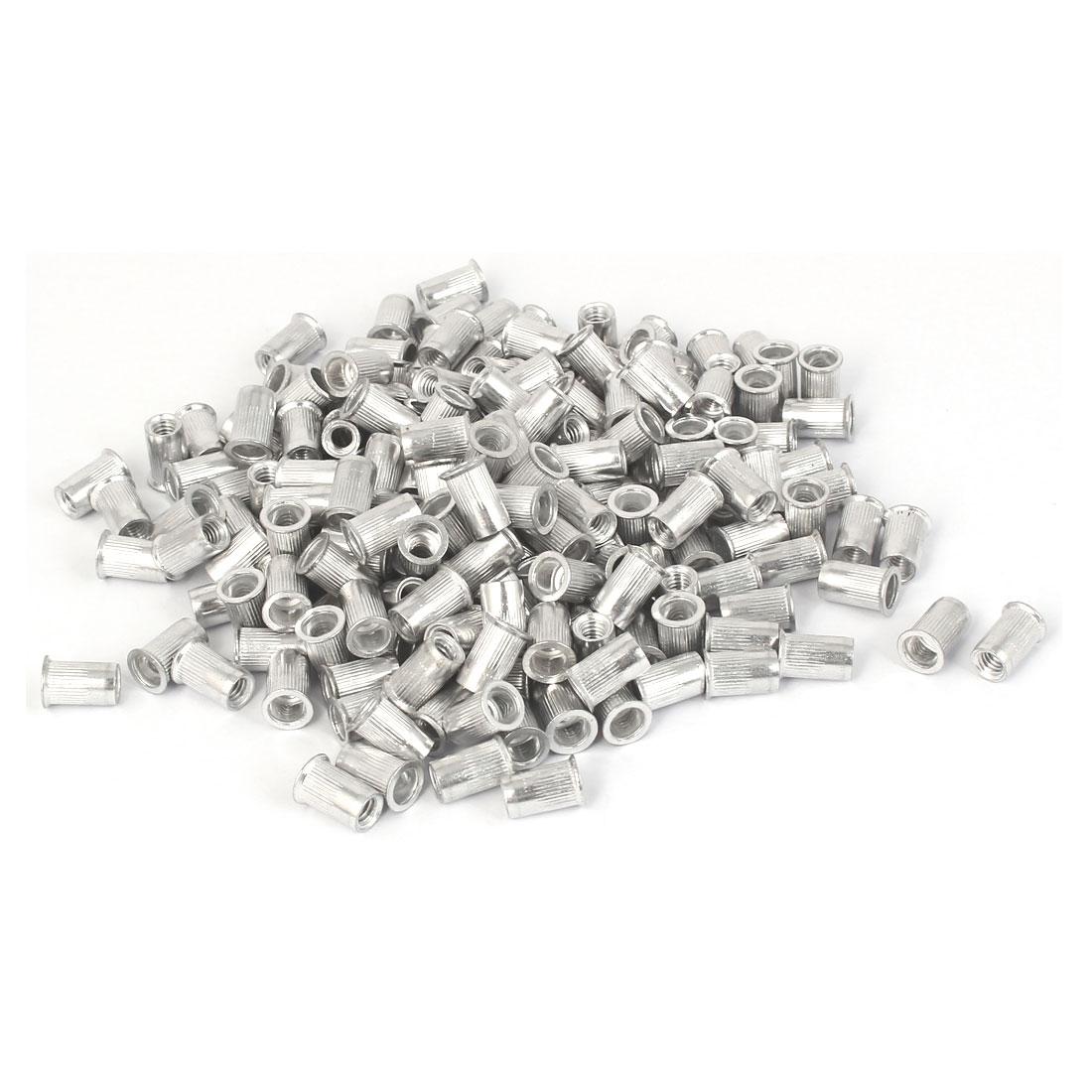 M4x9.8mm Aluminum Straight Knurled Reduced Head Rivet Nut 200pcs
