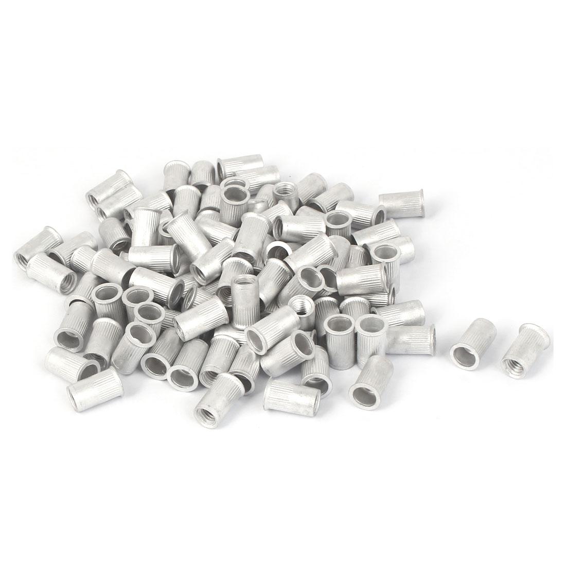 M5x12mm Aluminum Straight Knurled Reduced Head Rivet Nut 100pcs
