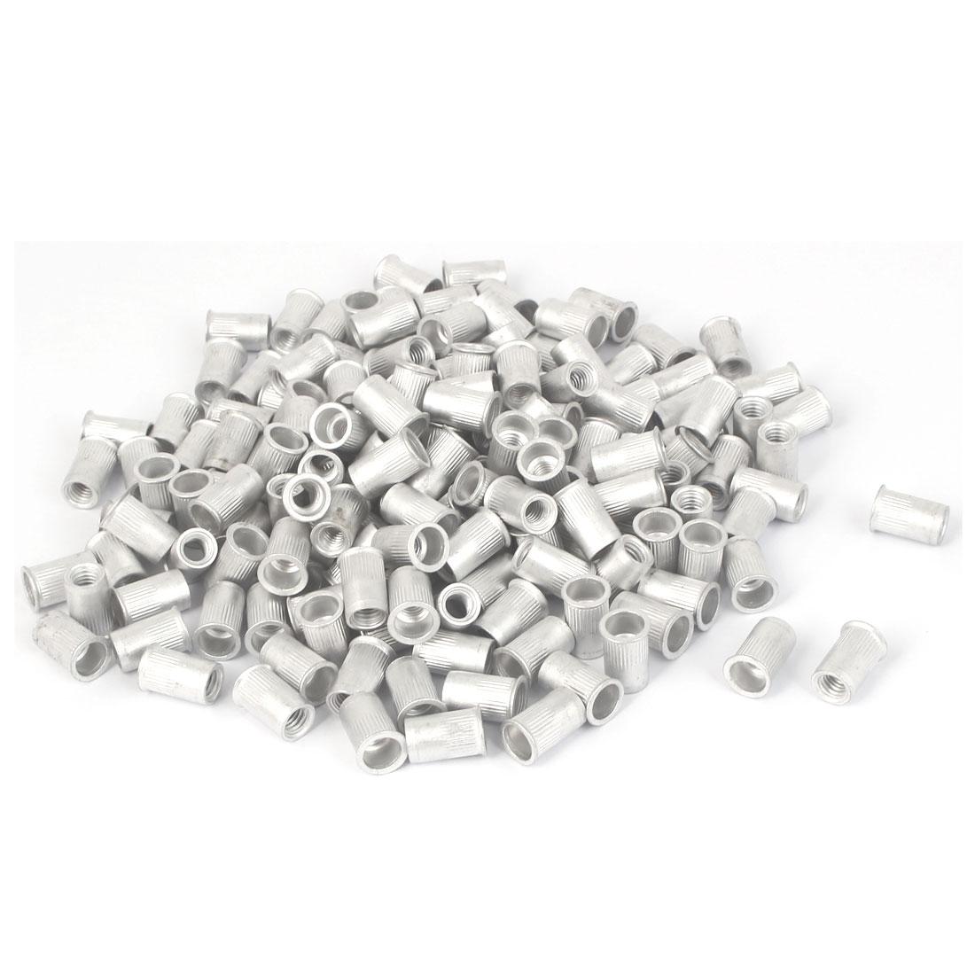 M6x15mm Aluminum Straight Knurled Reduced Head Rivet Nut 200pcs