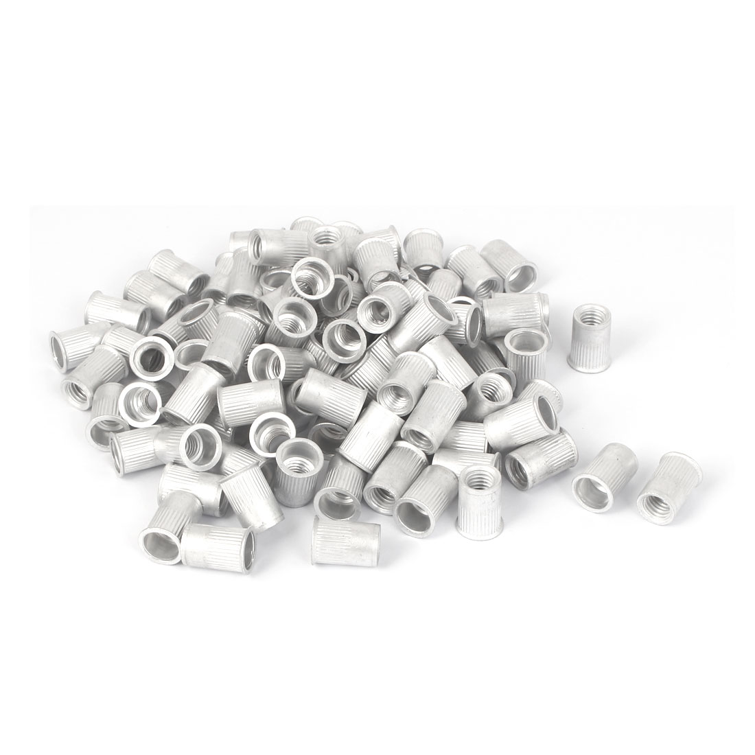 M8x16.5mm Aluminum Straight Knurled Reduced Head Blind Rivet Nut 100pcs