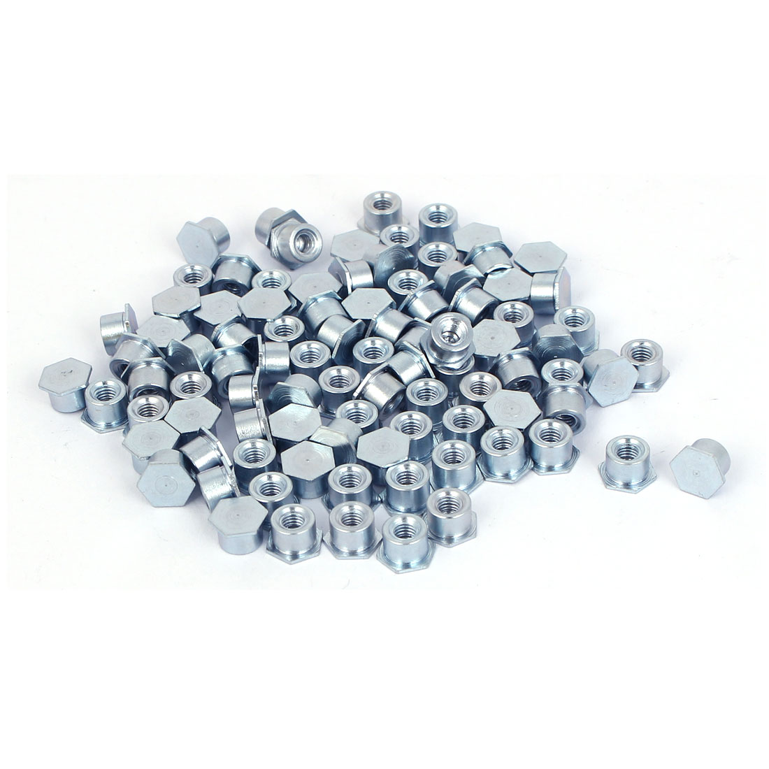 Carbon Steel Zinc Plated Hex Head Full Thread Self Clinching Standoff Silver Blue M3x4mm 100pcs