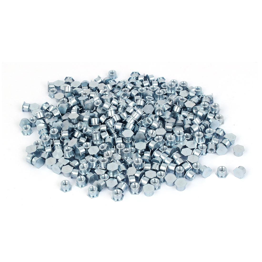 Carbon Steel Zinc Plated Hex Head Full Thread Self Clinching Standoff Silver Blue M3x4mm 500pcs