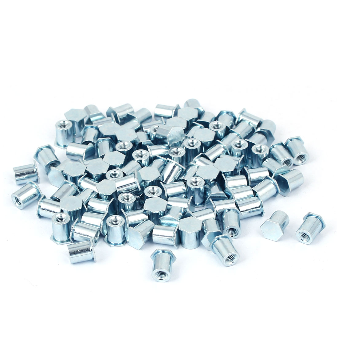 M3 x 7mm Thread Galvanized Carbon Steel Blind Self Clinching Standoffs 100 Pcs
