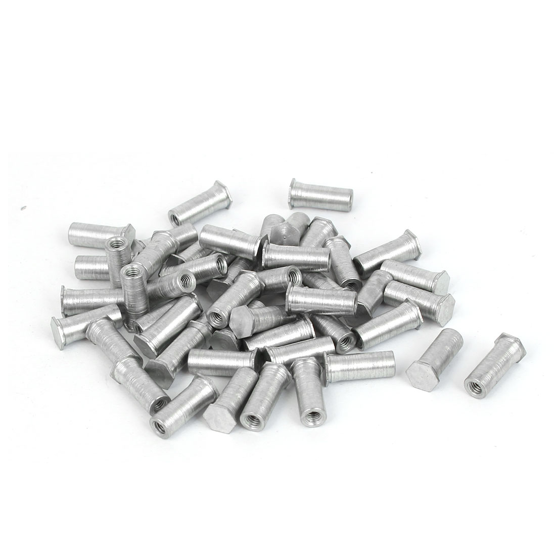 Carbon Steel Zinc Plated Hex Head Full Thread Self Clinching Standoff Silver Tone M3x13mm 50pcs
