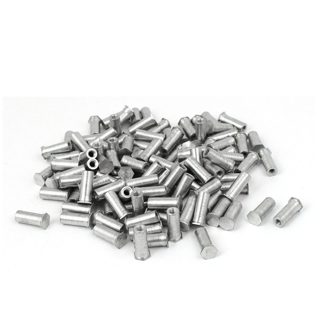 Carbon Steel Zinc Plated Hex Head Full Thread Self Clinching Standoff Silver Tone M3x13mm 200pcs