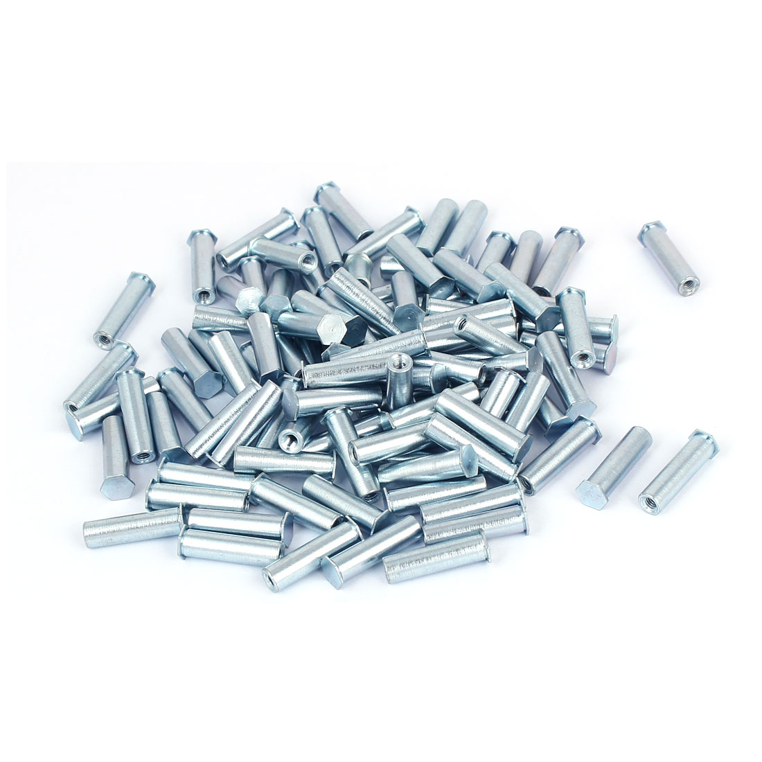 M3x20mm Blind Hole Zinc Plated Carbon Steel Self Clinching Standoff 100pcs