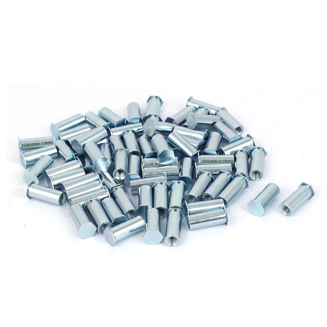 Carbon Steel Zinc Plated Hex Head Full Thread Self Clinching Standoff Silver Tone M4x15mm 50pcs