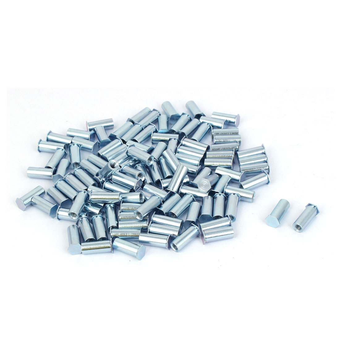 Carbon Steel Zinc Plated Hex Head Full Thread Self Clinching Standoff Silver Tone M4x15mm 100pcs