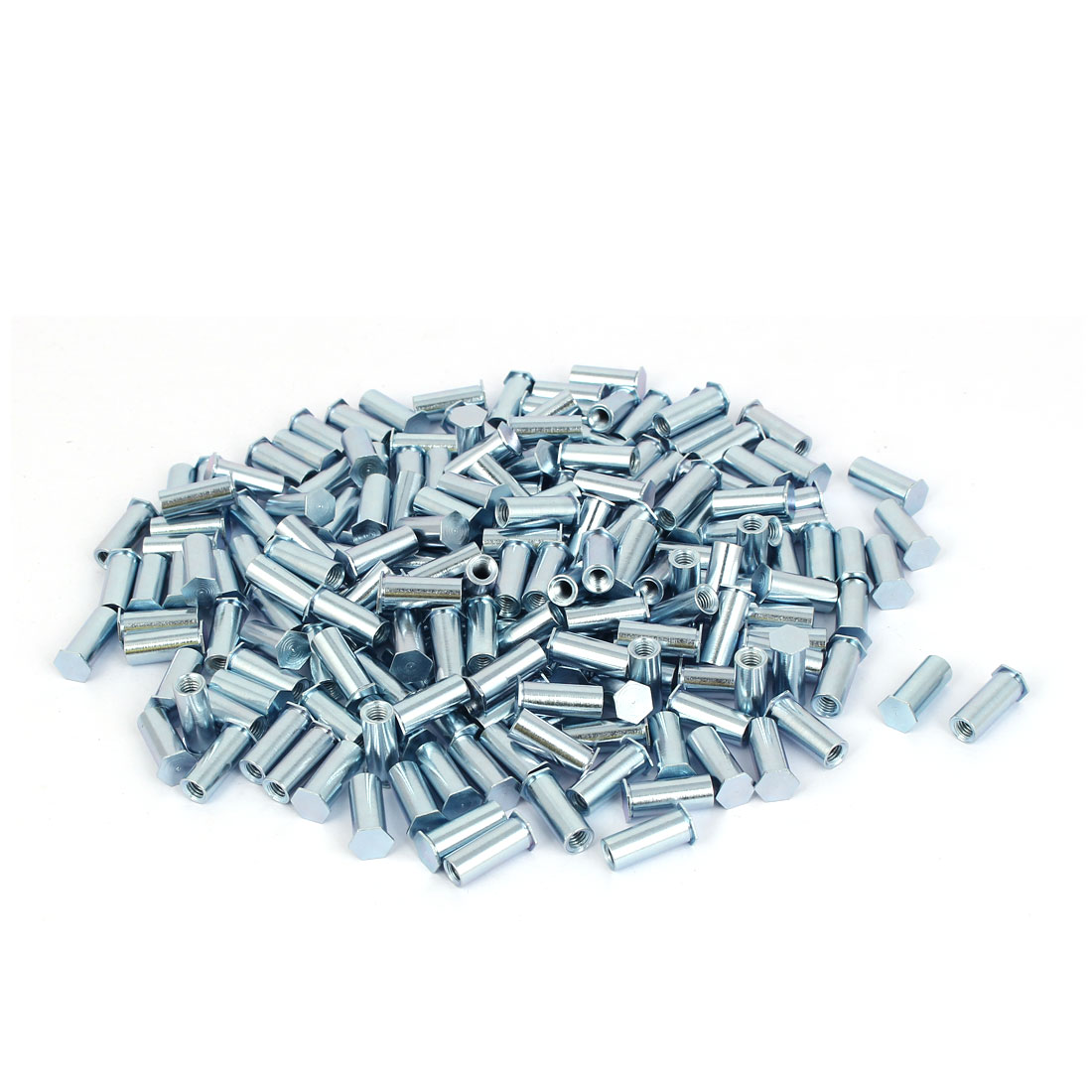 Carbon Steel Zinc Plated Hex Head Full Thread Self Clinching Standoff Silver Tone M4x15mm 200pcs