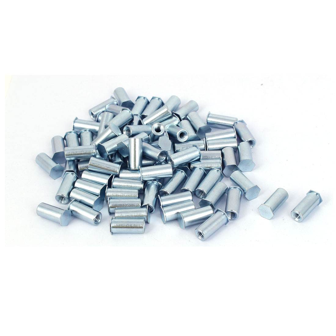 Carbon Steel Zinc Plated Hex Head Full Thread Self Clinching Standoff Silver Tone M4x16mm 100pcs