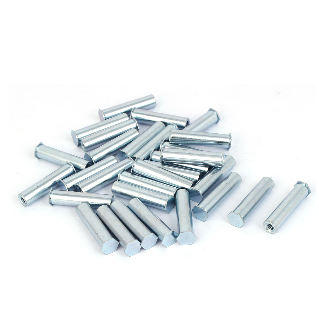 Carbon Steel Zinc Plated Hex Head Full Thread Self Clinching Standoff Silver Tone M4x30mm 30pcs