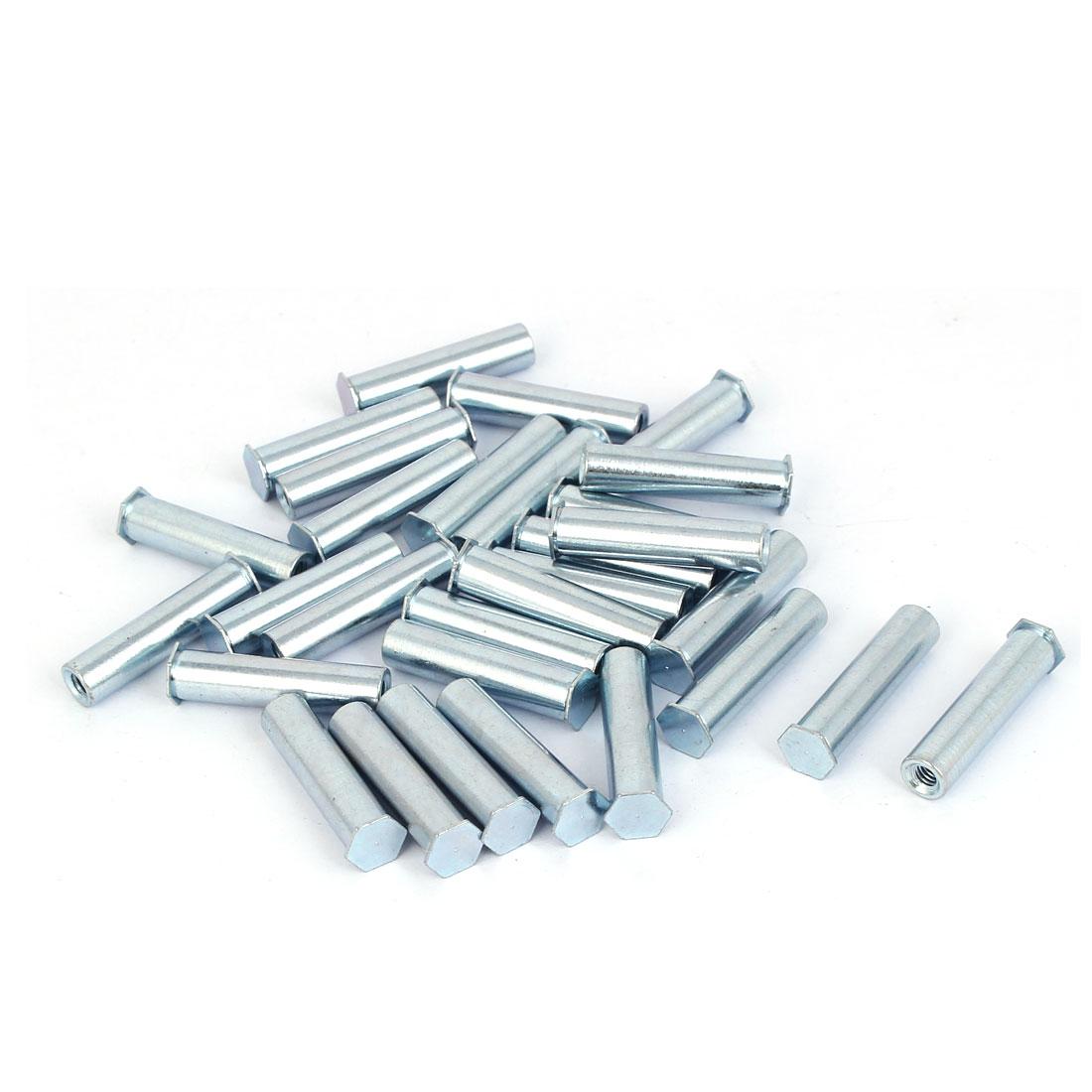 Carbon Steel Zinc Plated Hex Head Full Thread Self Clinching Standoff Silver Tone M4x30mm 30pcs