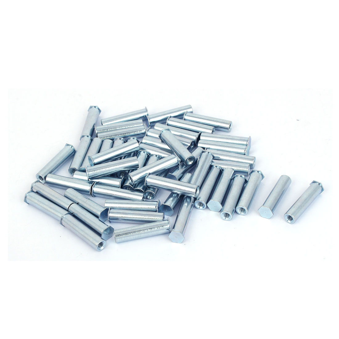 Carbon Steel Zinc Plated Hex Head Full Thread Self Clinching Standoff Silver Tone M4x30mm 50pcs