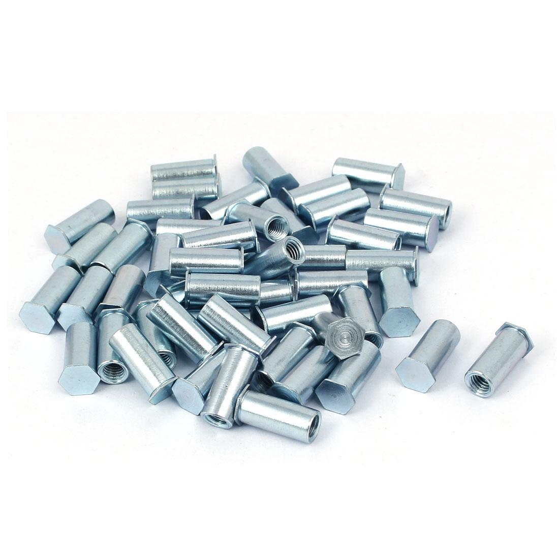 M5 x 16mm Thread Galvanized Carbon Steel Blind Self Clinching Standoffs 50 Pcs
