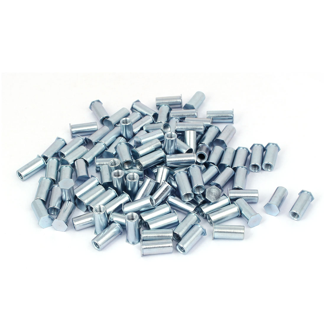 M5 x 16mm Thread Hex Head Blind Self Clinching Standoffs Silver Tone 100 Pcs